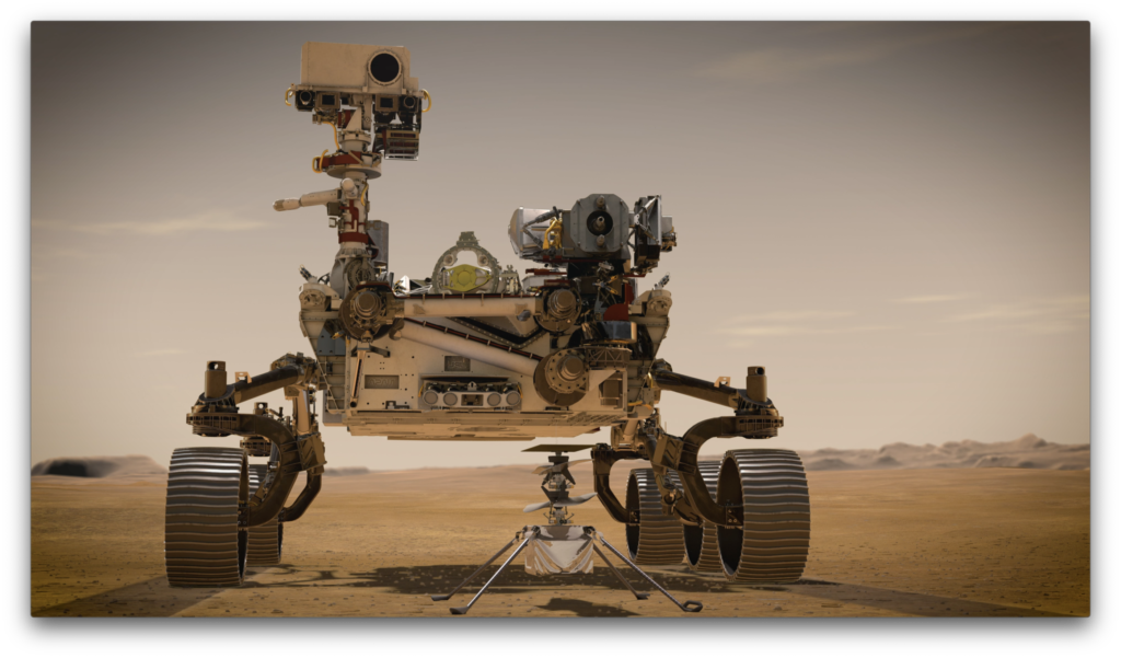 NASA's Mars 2020 Perseverance rover stands behind Ingenuity in this artist's concept. Perseverance is the most sophisticated rover NASA has ever sent to Mars, and will arrive at Jezero Crater with Ingenuity attached to its belly. NASA Image