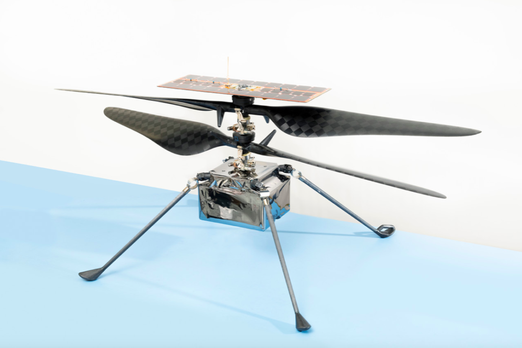 The flight model of Ingenuity shown before it was attached to the rover for its journey to Mars. NASA's Jet Propulsion Laboratory built and will manage operations of both the helicopter and the rover. NASA/JPL-Caltech Photo