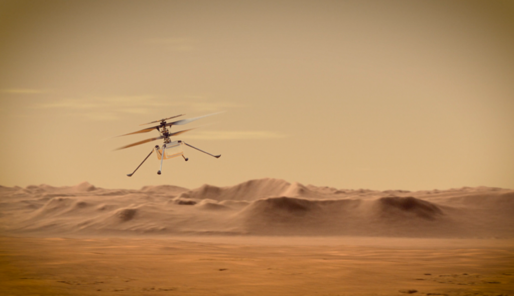 An artist's concept of Ingenuity flying through the Red Planet's skies. The aircraft is expected to attempt its first flight test in spring 2021, about 60 to 90 days after it arrives on Mars. NASA Image