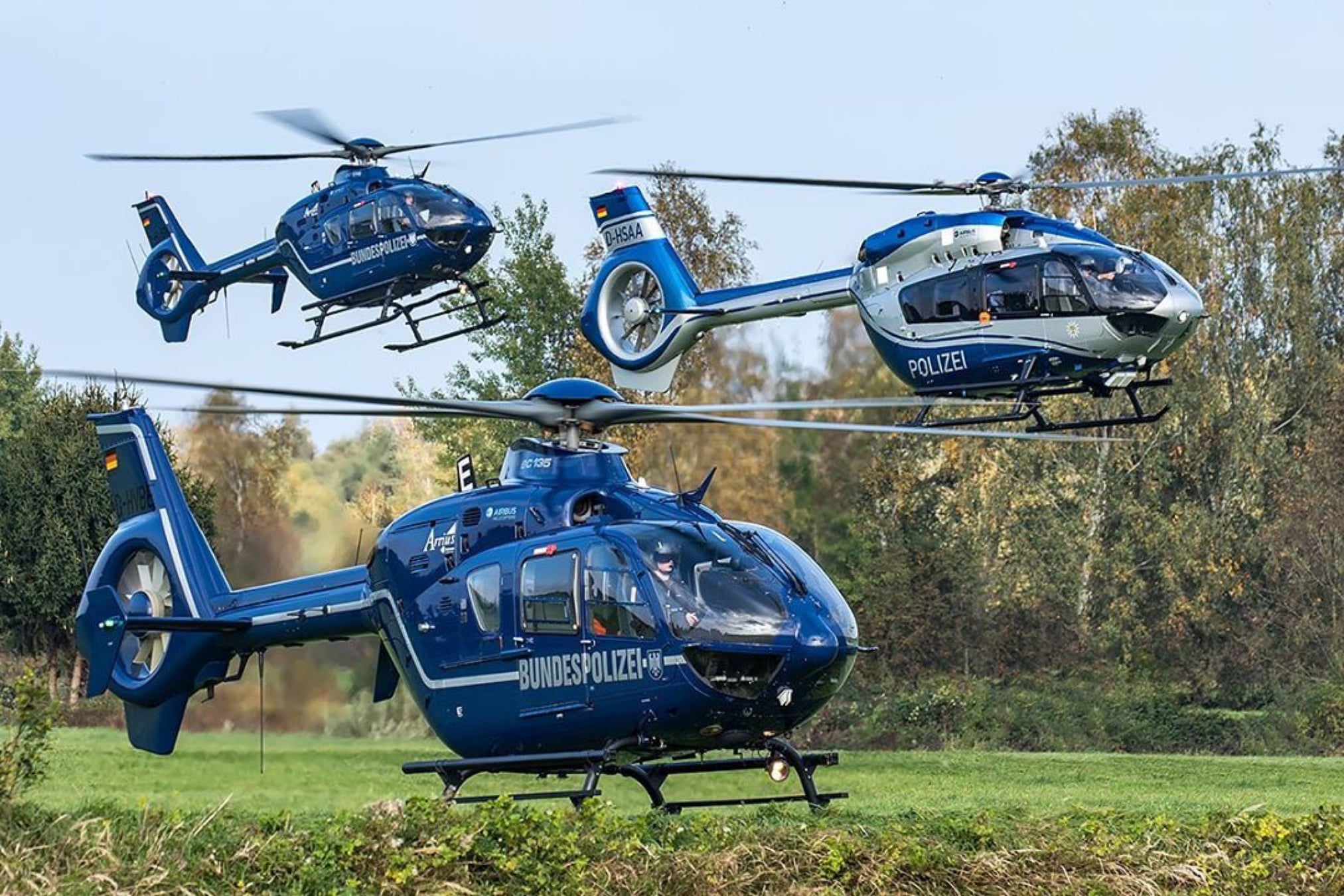 Bundespolizei Airbus EC135 and Polizei Sachsen-Anhalt H145 during annual mountain training. Photo submitted by Instagram user @aviationmedia_tomziegler using #verticalmag