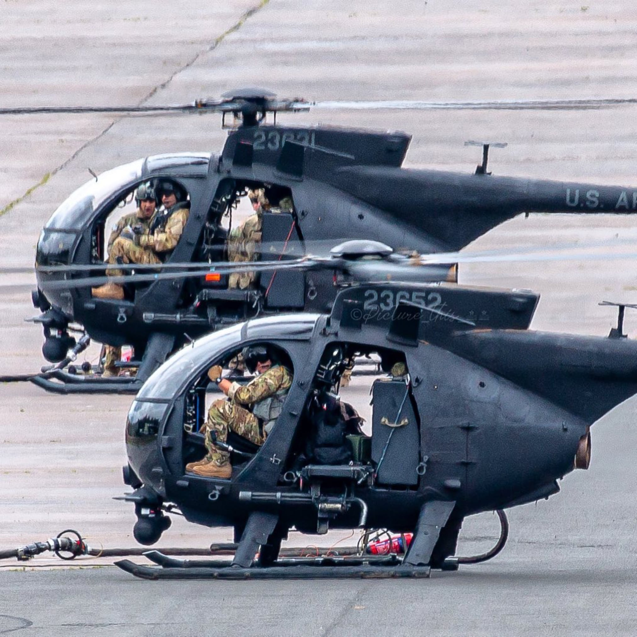 160th SOAR AH-6M Little Birds taking on fuel. Photo submitted by Instagram user @picture_this_21 using #verticalmag