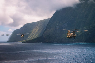 25th Combat Aviation Brigade CH-47F Chinook multi-ship flight around Hawaii islands. Photo submitted by Sarah Sangster