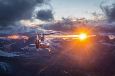 Air Zermatt Airbus H130 during sunset filming. Photo submitted by Michael Portmann