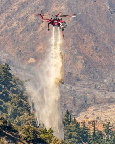 A Sikorsky CH-54B from Helicopter Transport Services douses a hotspot on the Bobcat Fire in California. Photo submitted by Instagram user @jdhimg using #verticalmag