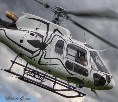 A Halloween-themed Airbus H125 from Eliticino-Tarmac SA. Photo submitted by Instagram user @helicopterphotosmicheleceresa using #verticalmag