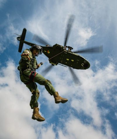 Irish Air Corps crewman winching from a Leonardo AW139 during training. Photo submitted by David O'Dowd