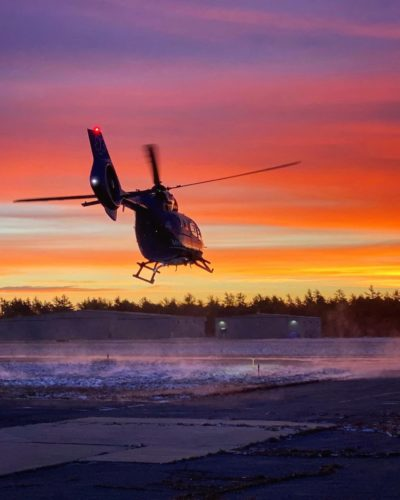 Off on an early morning sunrise call in a Boston MedFlight Airbus H145. Photo submitted by Instagram user @jolly_pilot using #verticalmag