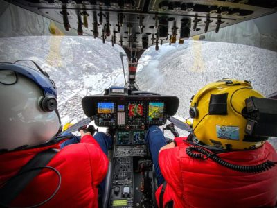 Winter views from the cockpit of an Airbus H145. Photo submitted by Alberto Betto by posting to the Vertical Facebook page.
