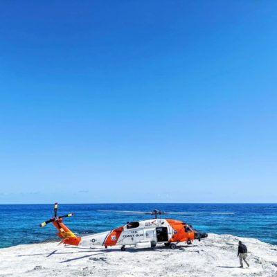Landing on a rock in the middle of the ocean with a U.S. Coast Guard Jayhawk. Photo submitted by Instagram user @alimariesi using #verticalmag