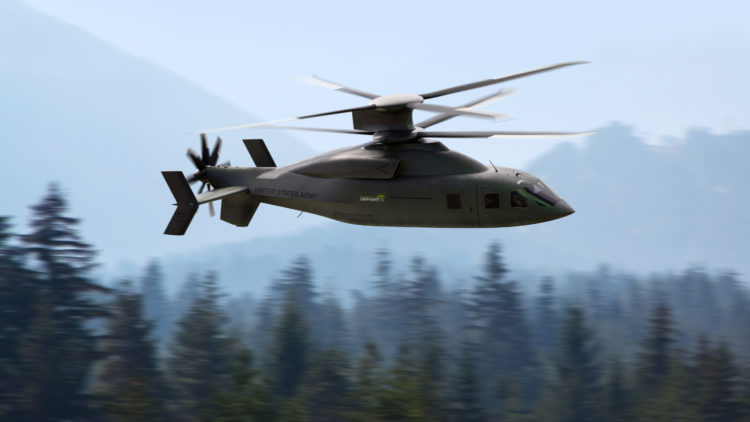 The Defiant X a version of the SB>1 coaxial compound helicopter optimized for aerodynamic efficiency and reduced thermal and acoustic signature. Defiant Team Image