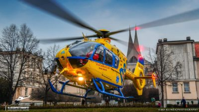A DSA Aviation Company Airbus EC135 conducts a patient handover. Photo submitted by Martin Klimša via Facebook.