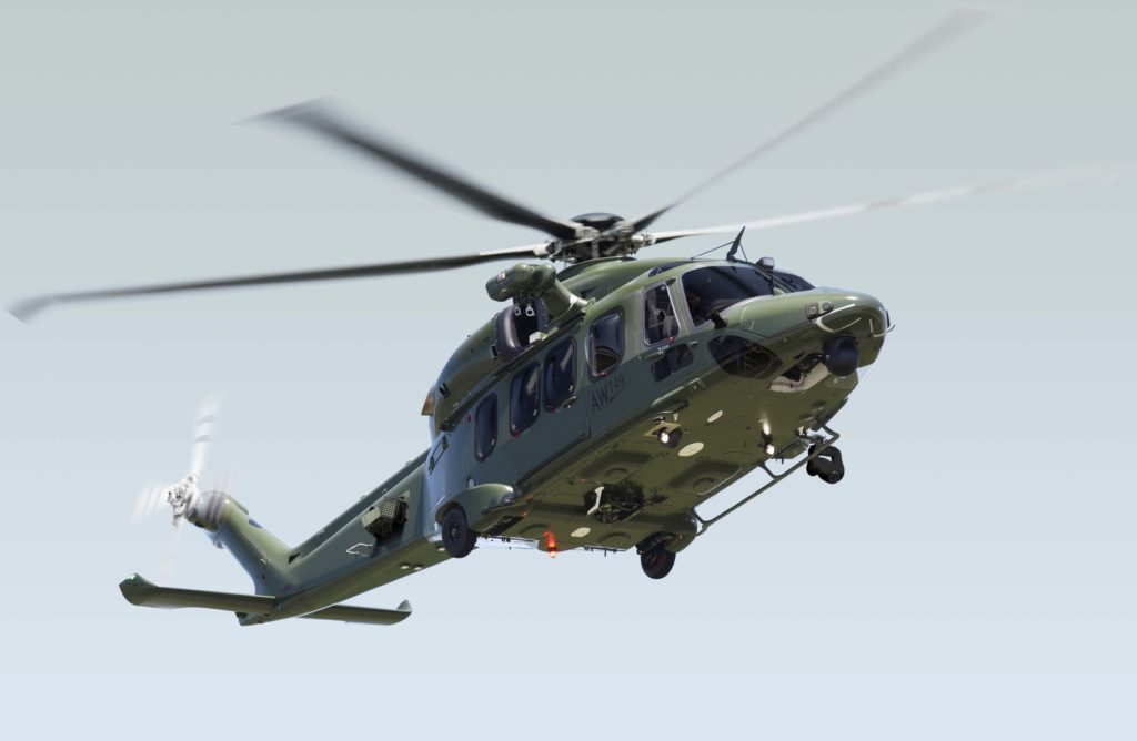 A Leonardo Helicopters AW149 with added military equipment. Leonardo Photo