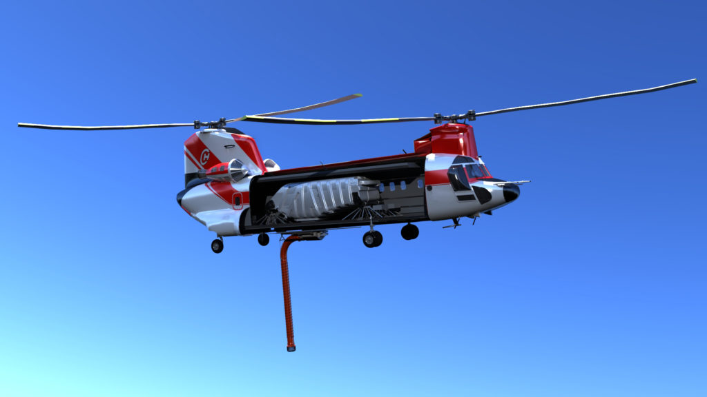 Model 234 helicopter with firefighting tank