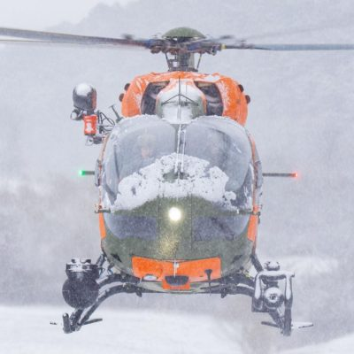 A Bundeswehr Airbus H145 helicopter in snowy conditions. Photo submitted by Instagram user @aviation_jb using #verticalmag