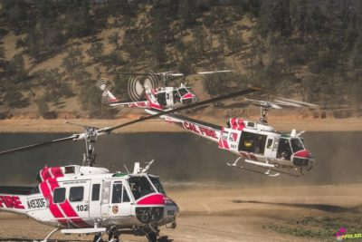 A trio of Cal Fire Bell UH-1H helicopters. Photo submitted by Instagram user @piper_322 using #verticalmag
