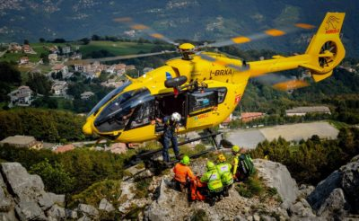 An Airbus H145 touches down on a pinnacle in the mountains. Photo submitted by Alberto Betto via Facebook