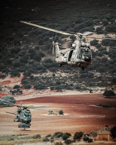 A mixed formation of a Spanish Air Force Super Puma and Bundeswehr NH90. Photo submitted by Instagram user @heeresfotograf using #verticalmag