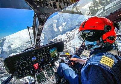 Airbus H145 helicopter cockpit during a rescue mission in the Italian Alps. Photo submitted by Alberto Betto via Facebook