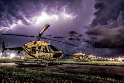 A huge storm passes overhead in Louisiana with PHI Aviation Bell 407 helicopters on the ground. Photo submitted by Nicholas Mills via Facebook